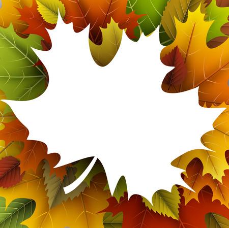 Herfst met esdoornblad vorm frame.