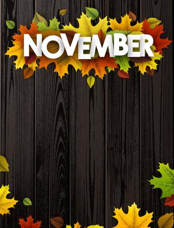November-achtergrond met kleurrijke esdoorn en berkbladeren. Vector houten illustratie. Stock Illustratie