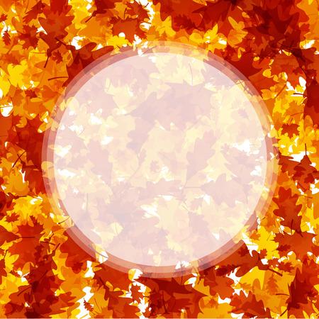 Herfst ronde achtergrond met gouden esdoorn en eikenbladeren. Vector illustratie. Stock Illustratie