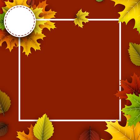 Oker herfst achtergrond met kleurrijke esdoorn en berkenbladeren. Vector illustratie. Stock Illustratie