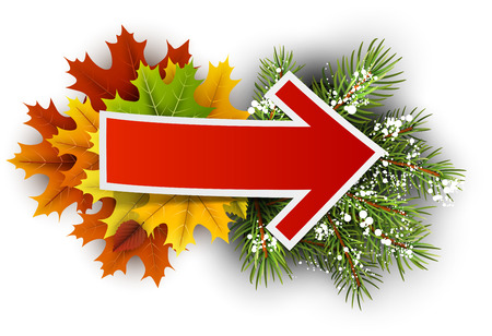 Seasons change card with maple leaves and fir branches. Vector illustration. Illustration