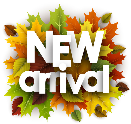 New arrival autumn poster with colorful maple and birch leaves. Vector illustration.