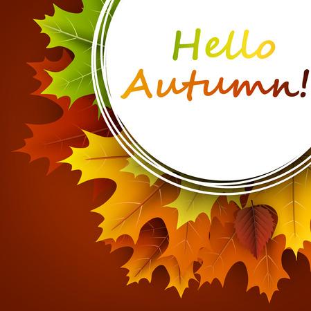 Hallo herfst oker kaart met kleurrijke esdoorn en berken bladeren. Vector illustratie.
