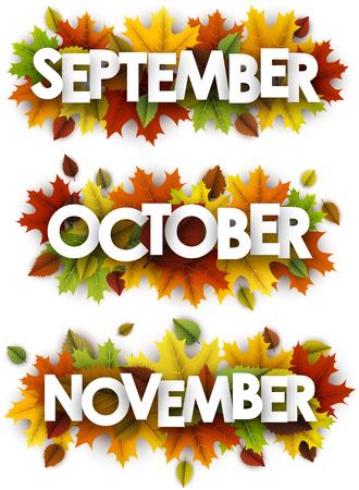 Spandoeken van september, oktober, november met bladeren van esdoorn en berken. Vector papier illustratie.