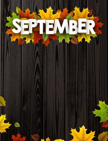 September-achtergrond met kleurrijke esdoorn en berkbladeren. Vector houten illustratie.