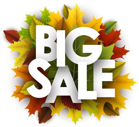 Grote verkoop achtergrond met kleurrijke esdoorn en berkenbladeren. Vector illustratie. Stock Illustratie