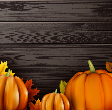 Wooden halloween background with orange pumpkins and leaves. Vector illustration.