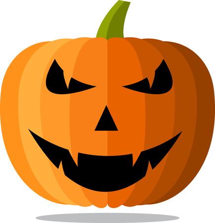 Orange isolated halloween pumpkin face pattern on white. Vector illustration.