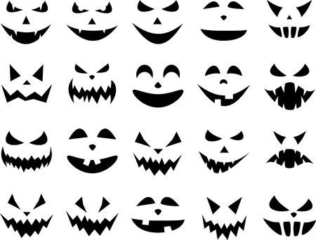 黒は、白のハロウィンのカボチャの顔パターンを分離しました。ベクトルの図。
