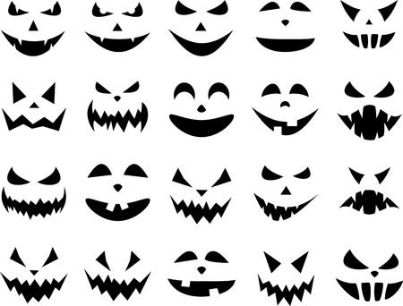 Black isolated halloween pumpkin face patterns on white. Vector illustration.