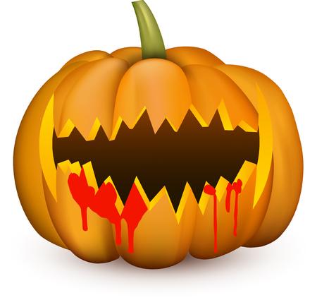 Orange isolated 3d halloween angry pumpkin on white. Vector illustration.