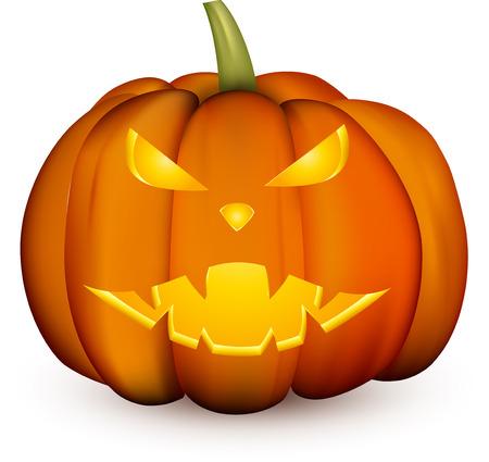 Orange isolated 3d halloween pumpkin face pattern on white. Vector illustration. Illustration
