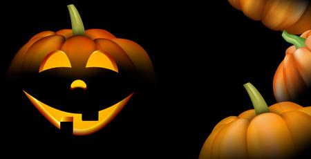 Black background with orange halloween pumpkin face pattern. Vector illustration.