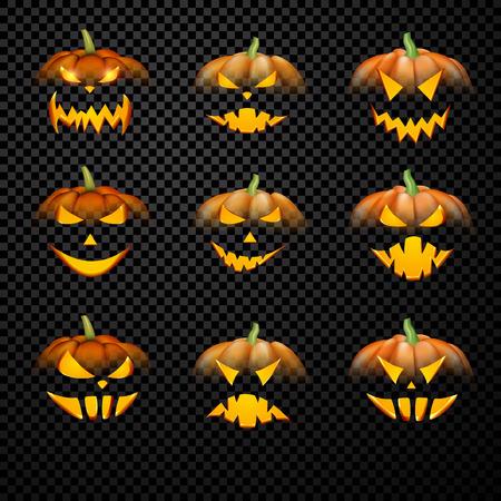 Orange isolated 3d halloween pumpkin face patterns on black. Vector illustration.