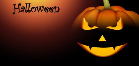 Banner with orange 3d luminous halloween pumpkin face pattern. Vector illustration.