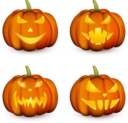 Orange isolated 3d halloween pumpkin face patterns on white. Vector illustration.