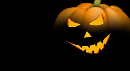 Black background with luminous 3d halloween pumpkin face. Vector illustration. Illustration