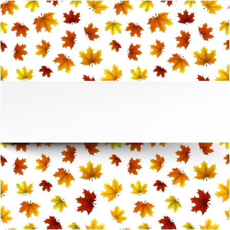 Witte herfst achtergrond met gouden esdoorn bladeren patroon. Vector illustratie.