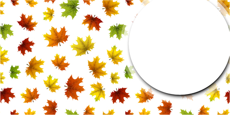 White autumn round background with colorful maple leaves pattern. Vector illustration.