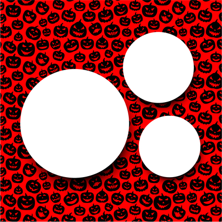 Red round halloween background with black pumpkin faces pattern. Vector illustration. Illustration