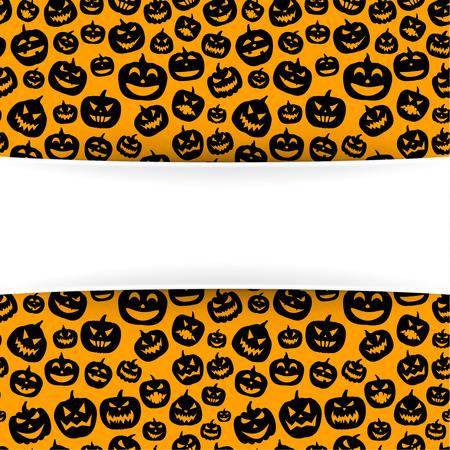 Orange halloween background with black pumpkin faces pattern. Vector illustration.