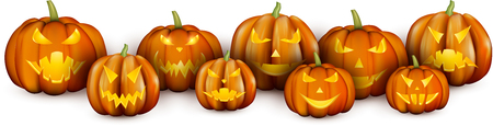 White banner with orange luminous halloween pumpkins. Vector illustration. Illustration