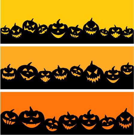 Orange halloween banners set with black pumpkin faces pattern. Vector illustration. Illustration