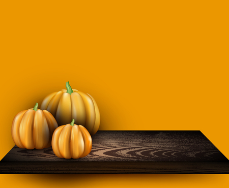 Orange halloween background with 3d pumpkins on shelf. Vector illustration.