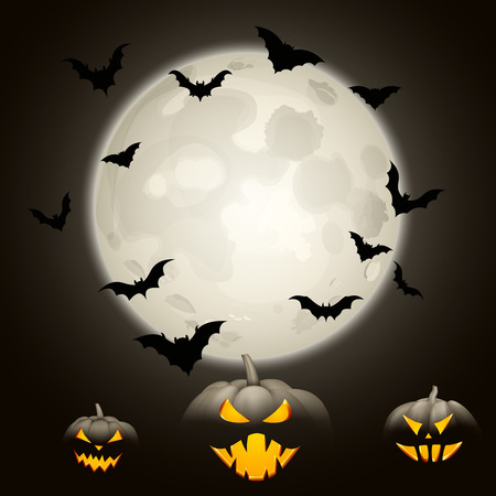 Grey halloween background with black bats, pumpkins and moon Vector illustration.