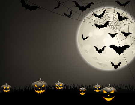 Grey halloween background with black pumpkins, bats and moon Vector illustration.
