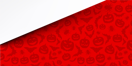 Red halloween background with pumpkins, bats and spiders Vector illustration.