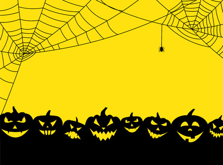 Yellow halloween background with black pumpkin faces and spiderweb Vector illustration.