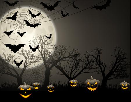 Grey halloween background with black pumpkins, bats and moon Vector illustration.