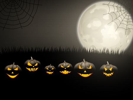 Grey halloween background with black pumpkins, spiderweb and moon Vector illustration.