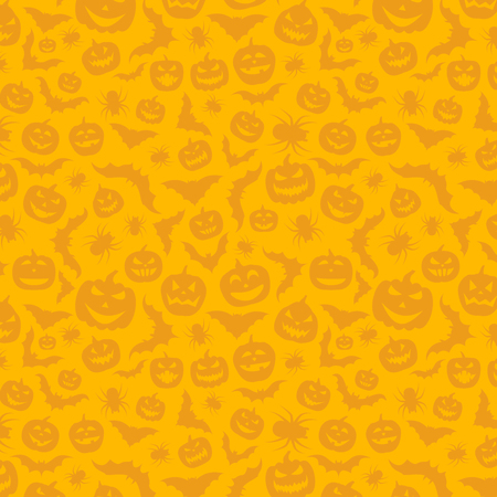 Orange halloween pattern with pumpkins, bats and spiders. Illustration