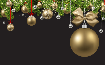 New Year background with spruce branches and golden Christmas balls. Vector illustration. Ilustração
