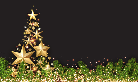 coniferous: New Year shining background with golden abstract Christmas tree. Vector illustration.