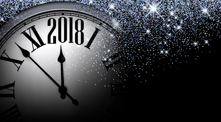 Black 2018 New Year shining background with clock. Vector illustration.