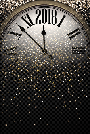 Black shining 2018 New Year background with clock. Фото со стока - 87733177
