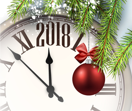 2018 New Year background with clock and Christmas ball. Vettoriali