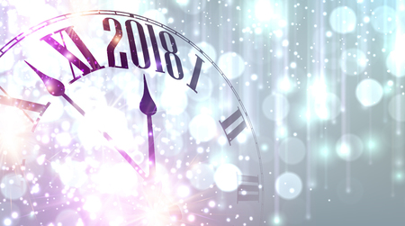 2018 New Year lilac shining banner with clock.