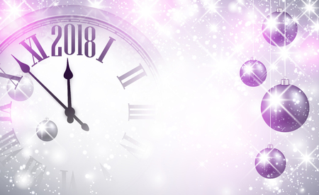 Magic 2018 New Year background with clock and balls. Vector illustration.