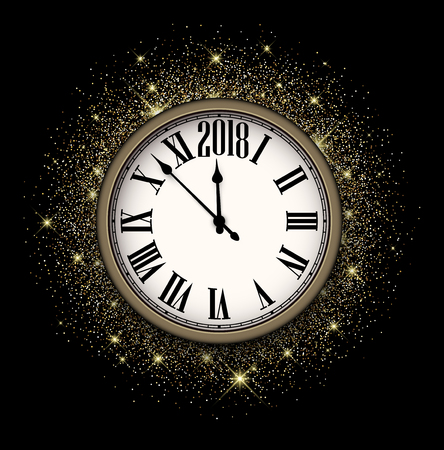 Black shining 2018 New Year background with clock. Vector illustration.