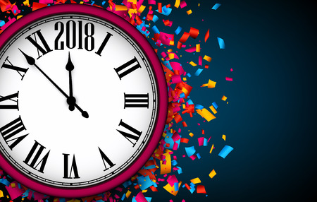 Blue 2018 New Year background with clock and confetti. Vector illustration.