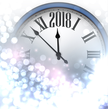 2018 New Year luminous background with clock. Vector illustration.