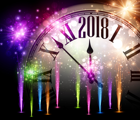 2018 New Year background with clock and colorful fireworks. Vector illustration. Illustration