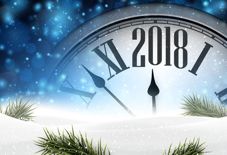 2018 year background with clock, fir branches and snow. Vector illustration. Vettoriali