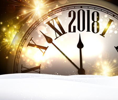 2018 year background with clock, lights and snow. Vector illustration. Stock Illustratie