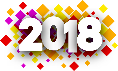 Colorful 2018 new year background with rhombs. Vector paper illustration.