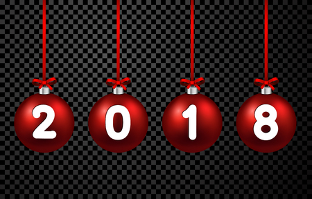 2018 New Year background with red 3d Christmas balls. Vector illustration.